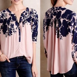 Anthro Maeve S Linden Batwing Floral Blouse Top